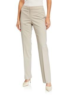 Lafayette 148 Barrow Mid-Rise Straight-Leg Wool Pants