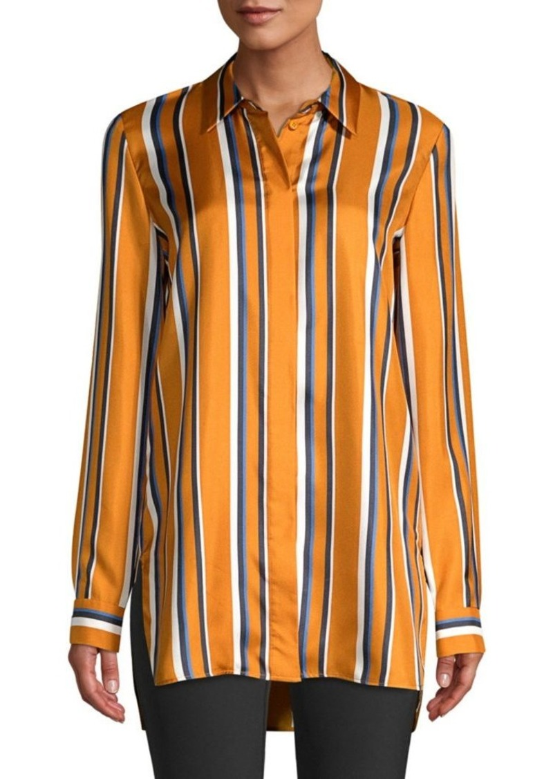 Lafayette 148 Barry Multi-Stripe Silk Blouse