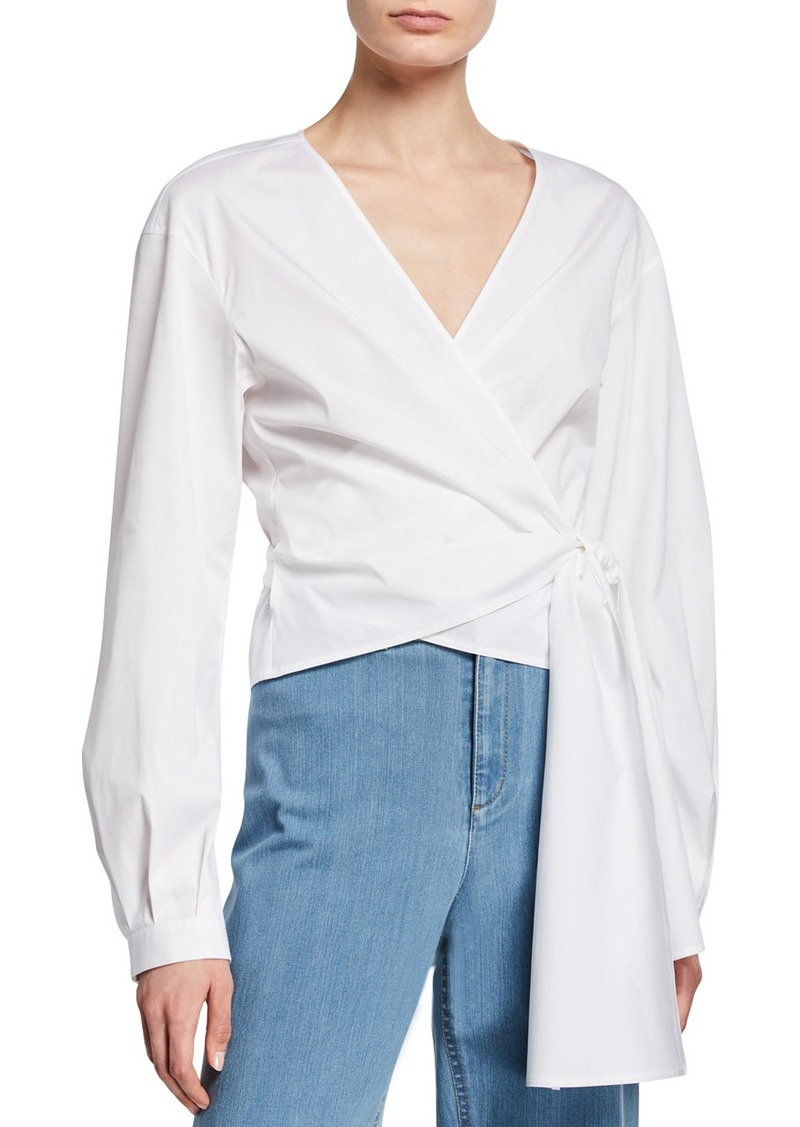 Lafayette 148 Basilla Italian Stretch-Cotton Wrap Blouse
