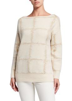 Lafayette 148 Bateau-Neck Cashmere Jacquard Sweater