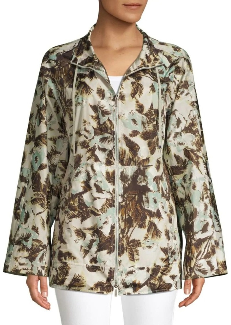 Lafayette 148 Baylor Palm Print Tech Cloth Coat