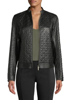Lafayette 148 Becks Quilted Leather Moto Jacket