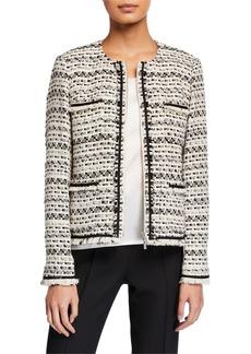 Lafayette 148 Benji Modulated Tweed Jacket w/ Frayed Trim