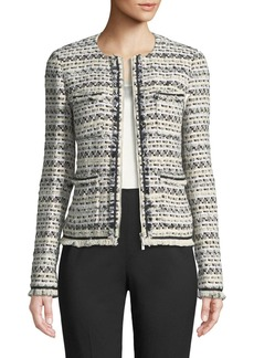 Lafayette 148 Benji Modulated Tweed Jacket w/ Frayed Trim