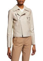 Lafayette 148 Bevin Checker Glass Leather Biker Jacket