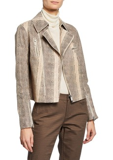 Lafayette 148 Bevin Leather Two-Way Zip Biker Jacket