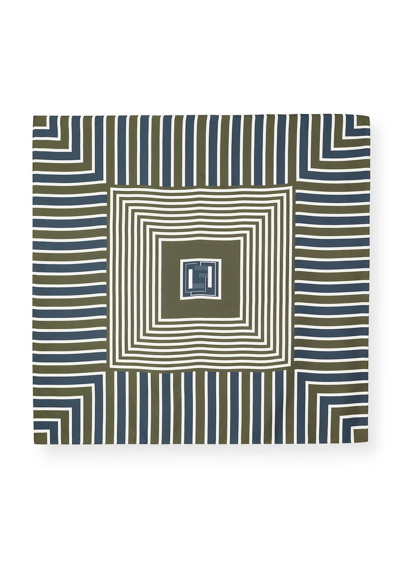 Lafayette 148 Bicolor Geometric Silk Scarf