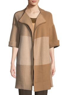 Lafayette 148 Bicolor Jacquard Oversized Wool Cardigan