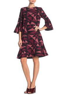 Lafayette 148 Billie Geo Print Bell Sleeve Dress