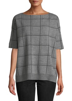 Lafayette 148 Boat-Neck Short-Sleeve Oversized Check Jacquard Sweater