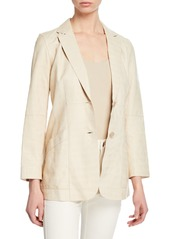 Lafayette 148 Boston Button-Front Etched Croco Lambskin Leather Jacket