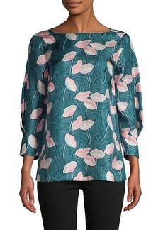 Lafayette 148 Botanical-Print Silk Blouse