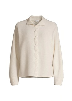 Lafayette 148 Braided Front Cable-Knit Cashmere Sweater