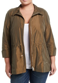 Lafayette 148 Brandy Metallic Zip-Front Topper Jacket