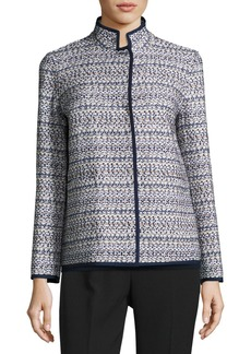 Lafayette 148 Branson Stand-Collar Tweed Jacket