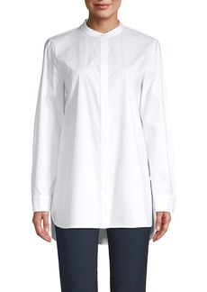 Lafayette 148 Brayden Mandarin Collar Shirt