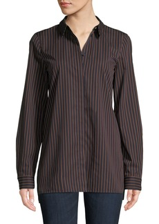 Lafayette 148 Brayden Spirited Stripe Cotton Blouse