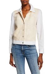 Lafayette 148 Braylon Denim & Leather Jacket