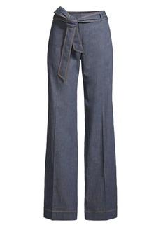 Lafayette 148 Broadway Tie-Belt Flare Jeans