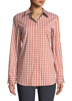 Lafayette 148 Brody Long-Sleeve Gingham Blouse