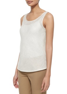 Brush Mesh Bias Linen Tank