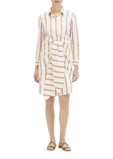 Lafayette 148 Brynlee Rosemont-Stripe Long-Sleeve Shirtdress w/ Tie-Front Detail