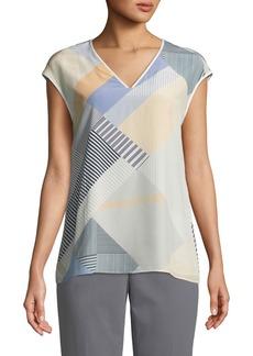 Lafayette 148 Bryson Cap-Sleeve Havana Hexagon-Print Silk Blouse