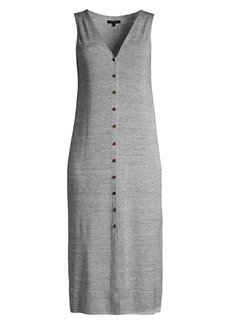 Lafayette 148 Button Front Linen Blend Knit Dress