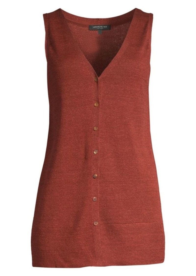 Lafayette 148 Button Front Linen-Blend Knit Vest