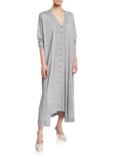 Lafayette 148 Button-Front Linen/Viscose Relaxed Cardigan