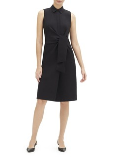 Lafayette 148 Cabella Sleeveless Tie-Front Stretch-Cotton Shirtdress