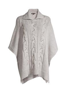 Lafayette 148 Cable-Knit Cashmere Sequin Poncho