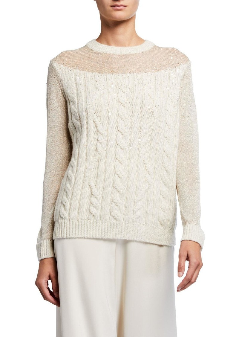 Lafayette 148 Cable Knit Cashmere Sweater with Sequins