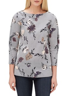 Lafayette 148 Caddie Artisan Bouquet 3/4-Sleeve Bateau-Neck Stretch Cotton Blouse