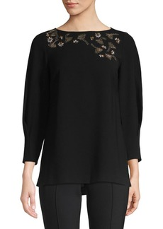 Lafayette 148 Caddie Blouse With Embellished Detail