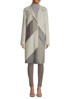 Lafayette 148 Calf Hair And Leather Combo Coat