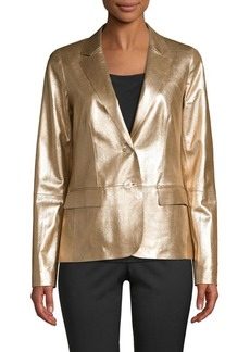 Lafayette 148 Camden Metallic Leather Blazer