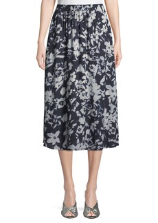 Lafayette 148 Camrie Floral-Print Midi Skirt