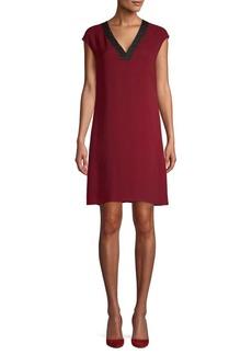 Lafayette 148 Cap-Sleeve Silk Shift Dress