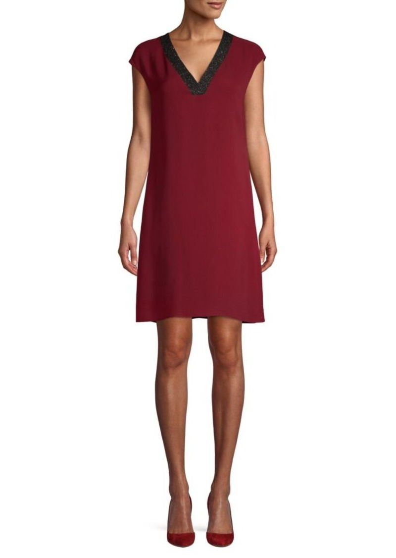 Lafayette 148 Cap-Sleeve Silk Shift Dress