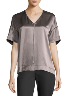Lafayette 148 Caprice Chain-Trimmed Charmeuse Blouse