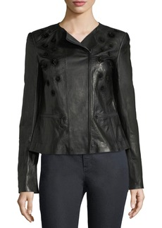 Lafayette 148 Caridee Floral-Applique Leather Jacket