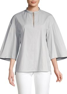 Lafayette 148 Carla Stripe Wide-Sleeve Blouse