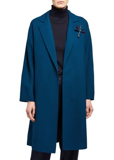Lafayette 148 Carmelina Open-Front Wool Jacket with Pin