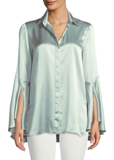 Lafayette 148 Cartolina Silk Charmeuse Long-Sleeve Blouse