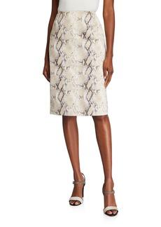 Lafayette 148 Casey Diamondback Snake-Print Suede Skirt