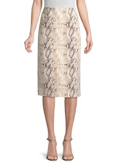 Lafayette 148 Casey Snake-Print Suede Pencil Skirt