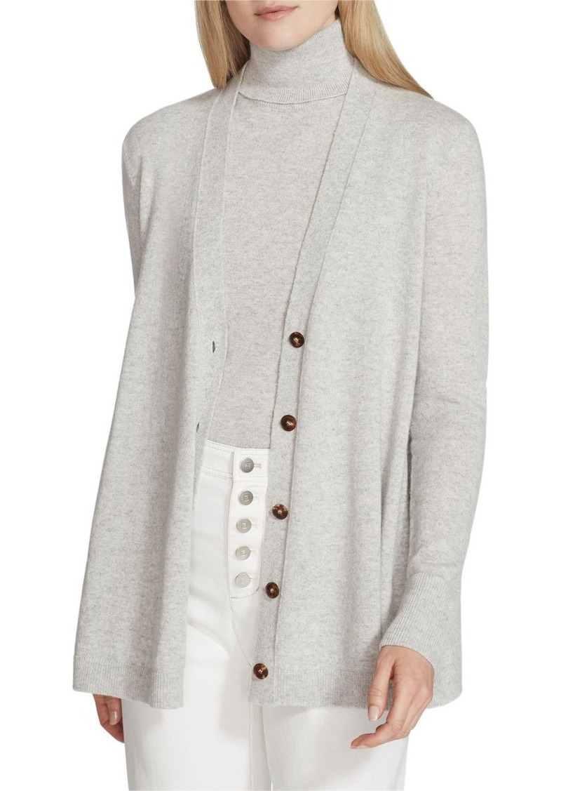 Lafayette 148 Cashmere Button-Front A-Line Cardigan