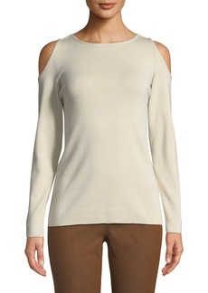 Lafayette 148 Cashmere Cold-Shoulder Sweater