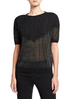 Lafayette 148 Cashmere Sheer Metallic Short-Sleeve Cable T-Shirt Sweater